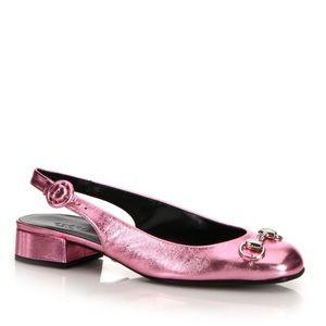 Gucci Lillian Pink Horsebit Slingback Flat 40.5